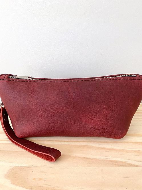 Red Leather Tri Dopp Kit Bag | Hammerthreads