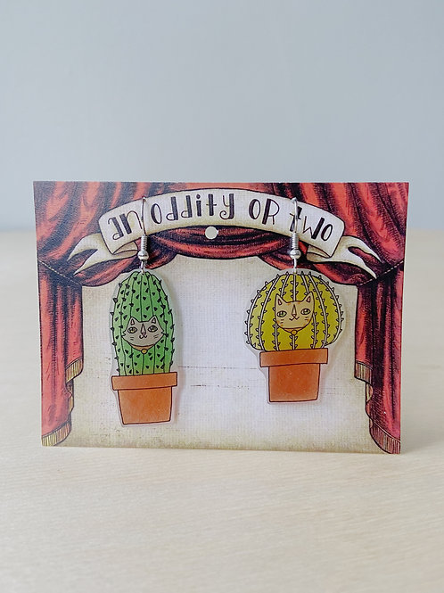 Cactus Cats Earrings | An Oddity of Two