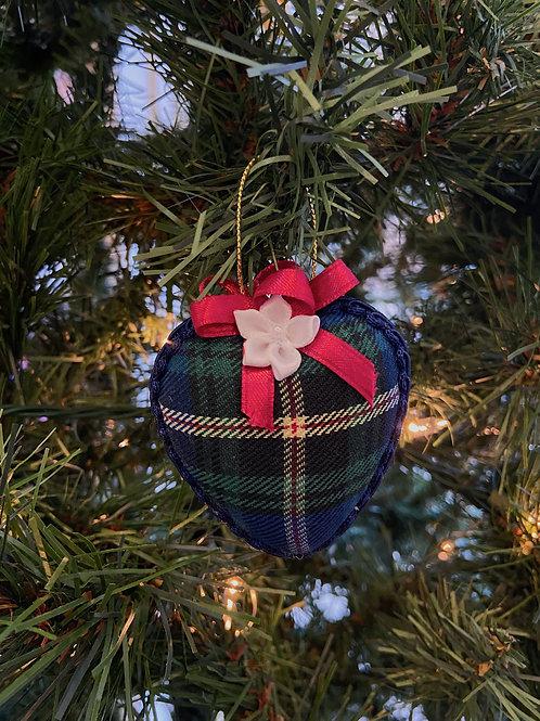 Large Nova Scotia Tartan Heart Ornament