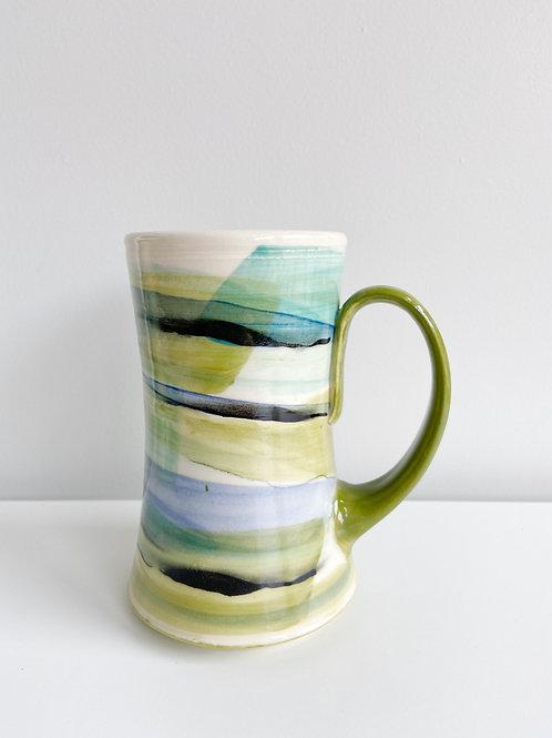 Tall Olive + Blue Mug | Keffer Pottery