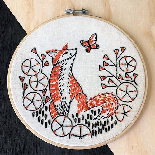 Fox in Phlox Complete Embroidery Kit | Hook, Line + Tinker