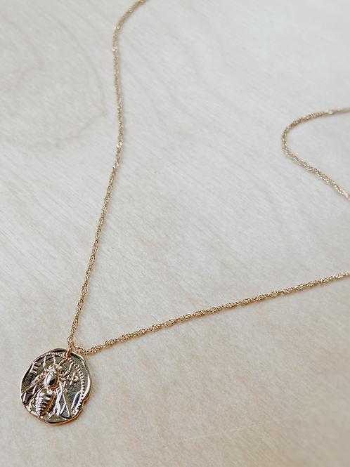 Gold Engraved Bee Pendant Necklace   Elephant/Castle
