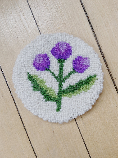 Thistle Coaster   Cheticamp Rug Hooking