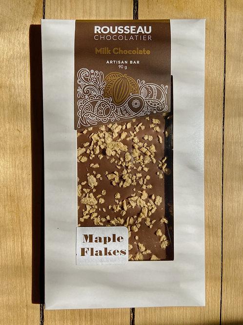 Milk Chocolate Maple Flakes Artisan Chocolate Bar | Rousseau Chocolatier