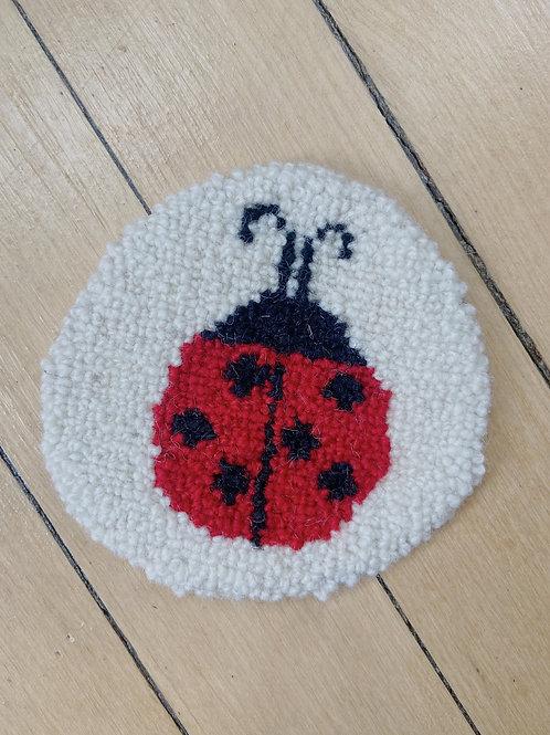 Ladybug Coaster   Cheticamp Rug Hooking