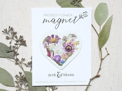 Pressed Flower Heart Design Magnet | Seek + Bloom