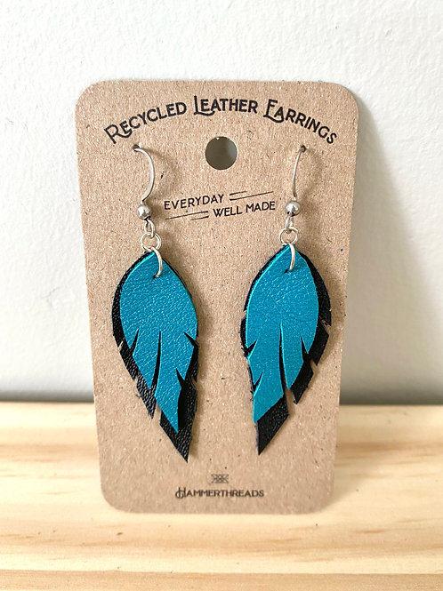 Leather Blue + Black Feather Earrings | Hammerthreads
