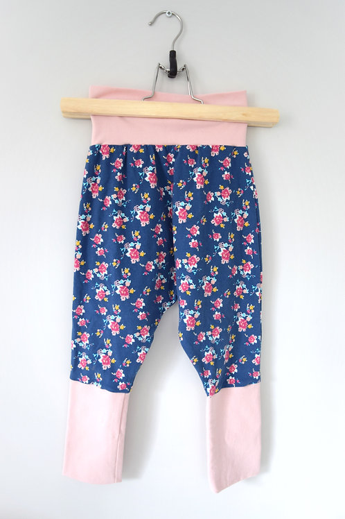 Grow-With-Me Pants | Navy Rosettes + Pink