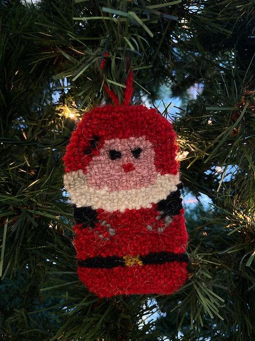 Santa Ornament | Chéticamp Rug Hooking