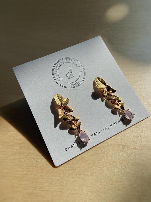 Gold Stud Flower Earrings with Pink Venetian Glass | Elephant/Castle