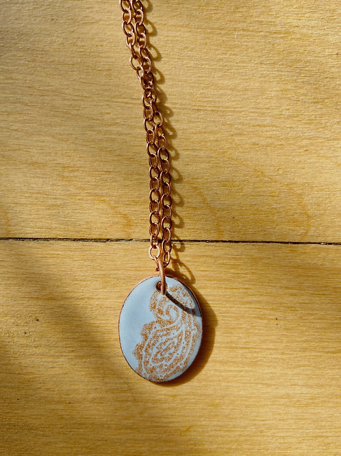 Paisley Enamelled Necklace in Sky Blue | Aflame Creations