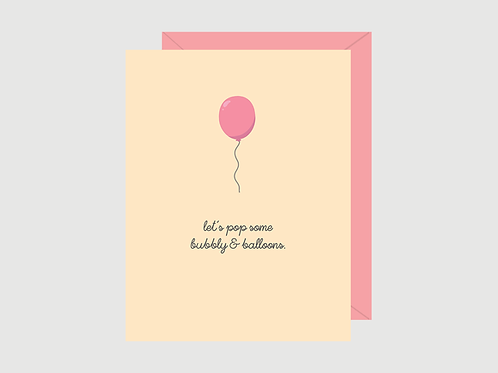 Let's Pop Bubbly & Balloons Card | Halifax Paper Hearts