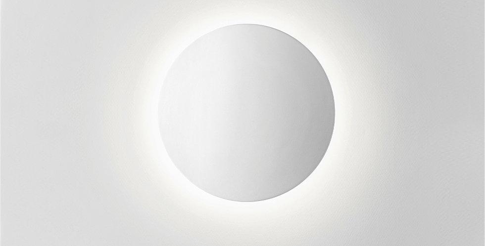 Aplique redondo blanco de luz difusa encendido