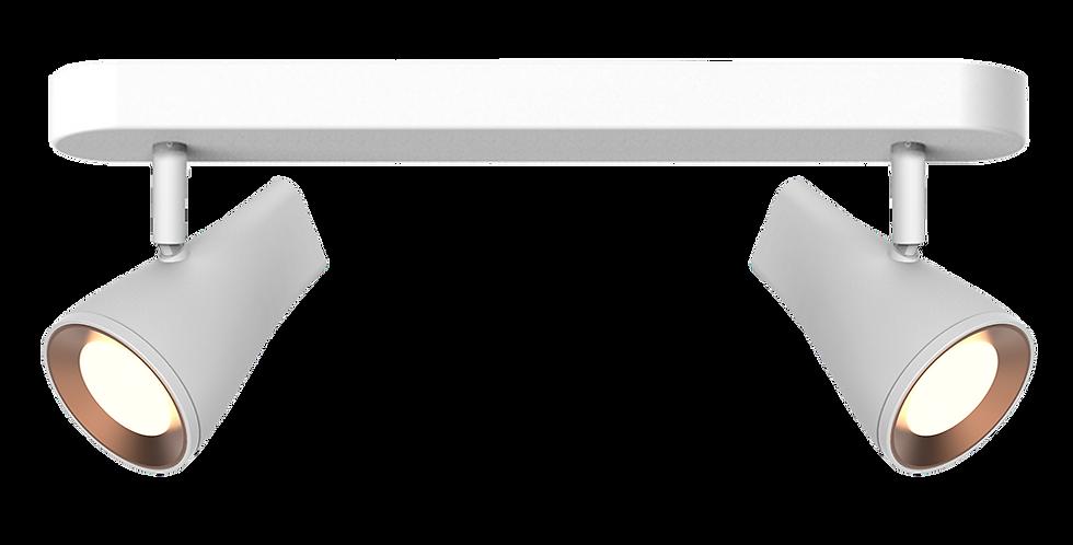 Base con 2 cabezales blancos led orientables detalles en cobre