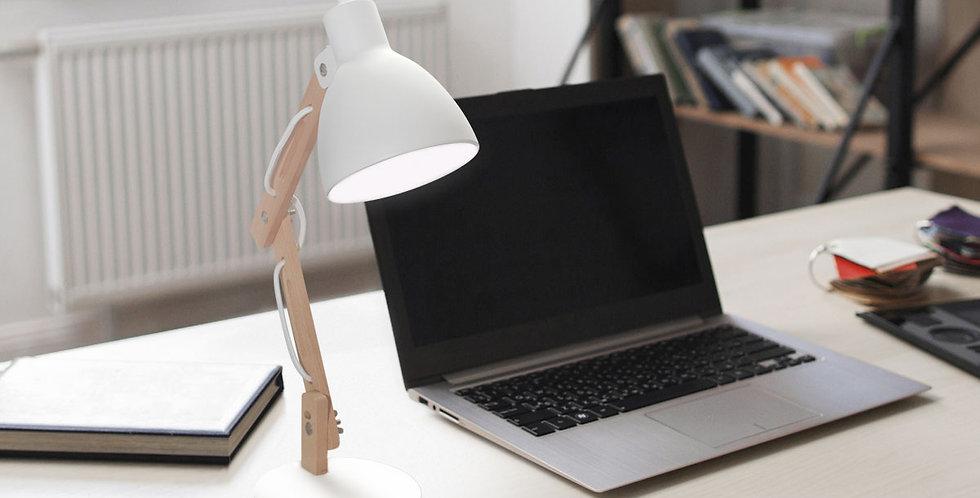 lampara de escritorio simple en acero y madera