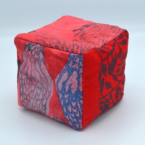Block-printed stuffed rattle block