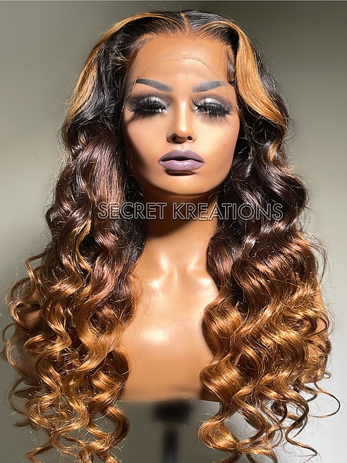 """""""Brey"""" Pre-Styled Ombre Highlight Lace Wig"""