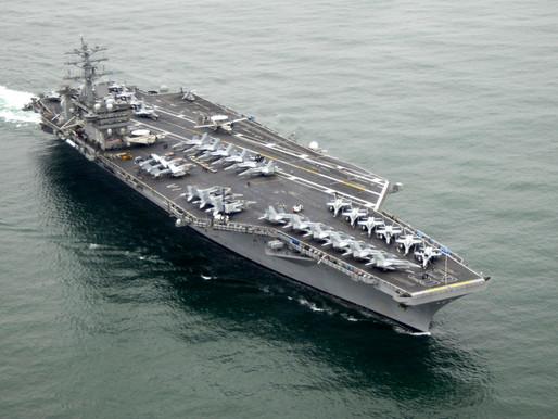 US 100,000-ton message to Iran : The 'USS Nimitz' turns around