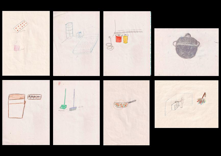 Angela Torrejón. Sin título de la serie Amor y Cuidados II, 2019. Lápices de colores sobre papel bulki. 29.7 x 21 cm cada uno.