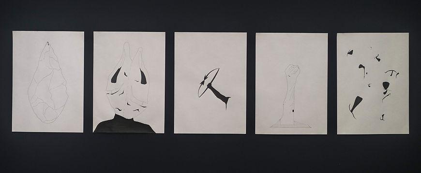 Rafael Nolte. No reconozco las formas de este lugar, 2017. Tinta sobre papel. 42 x 29.7 cm cada uno. b