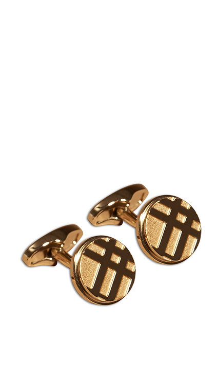 Cufflink - Checked Circle Gold