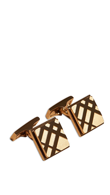 Cufflink - Checked Square Gold