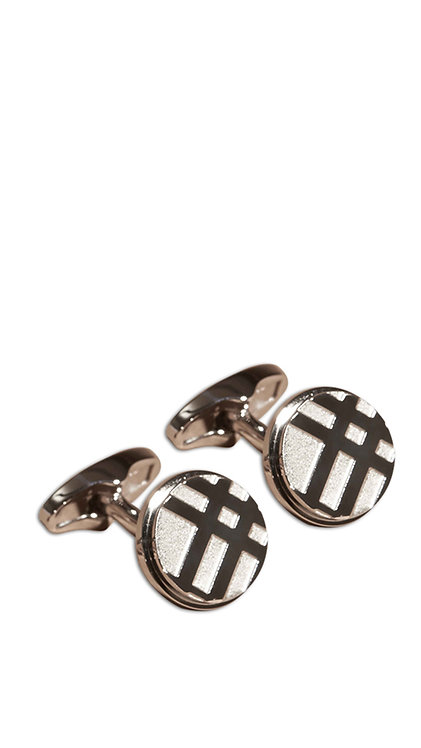 Cufflink - Checked Circle Silver