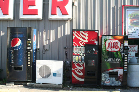 Soda machines line the exterior of Fitch's IGA in Wilmore