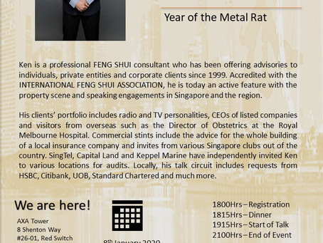 Feng Shui Talk 2020.  Enhancing your Success in the Year of the Metal Rat.  AXA Premier Evening.