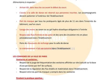 Protocole sanitaire Danse afrourbaine à Paris