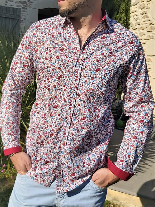Chemise Simon blanche motif fleurs
