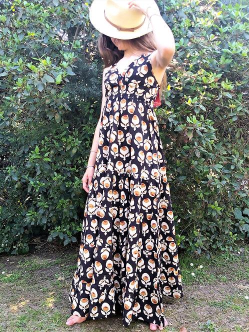 Robe Thaîland Noir fleurs de coton