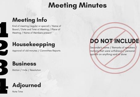 HOA Board Meetings:  Spotlight on Minutes