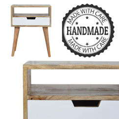 Every bedside table is handcrafted using
