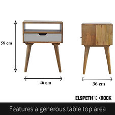 Dimensions of scandi style beside table