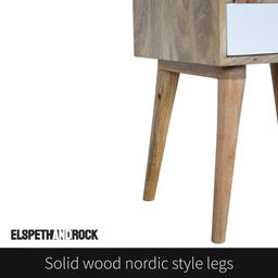 This scandi bedside table features solid