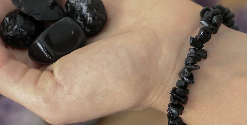 Pulseira Obsidiana Negra Cascalho