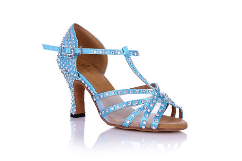 Sky Blue T-Strap Crystal with Mesh