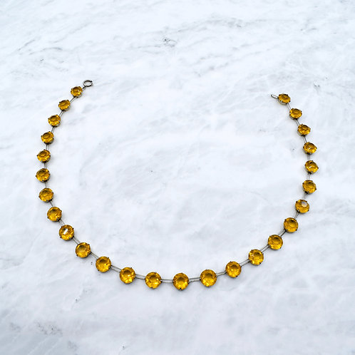 Art Deco Yellow Citrine Paste & Silver Necklace