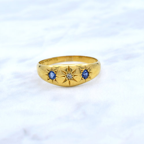 Victorian, 18ct Gold, Sapphire & Diamond Gypsy Ring