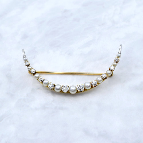 Antique Crescent Moon Diamond & Pearl Gold Brooch