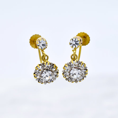 Edwardian Sparkly Paste & 9ct Gold Earrings