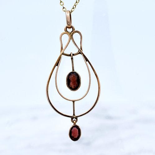 Antique Gold Garnet Necklace with Garnet Drop