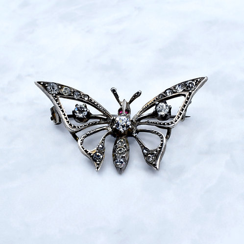 Victorian, Silver & Paste Butterfly Brooch