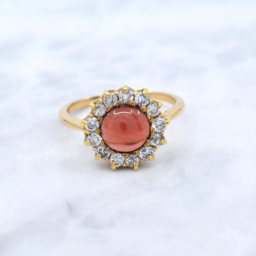 Victorian, 18ct Gold, Cabochon-cut Garnet & Diamond Ring