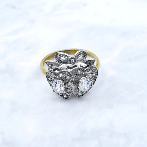 Antique Design, Two Hearts, Paste Ring