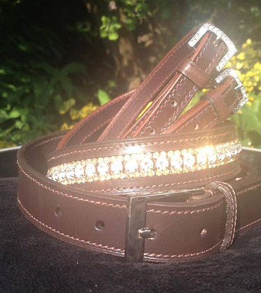Brown leather 3 row Crystal belt: Clear/Gold