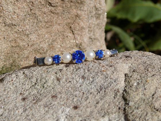 Sapphire/Pearl Stock Pin