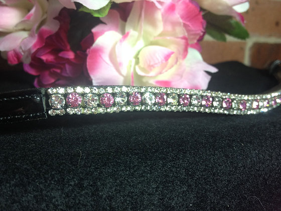 3 Row: Rose/Clear Alternating, Clear Edging