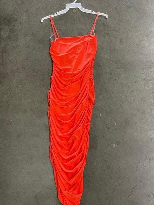 Kiara ruched dress orange